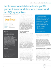 Jenkon moves database backups 90 percent faster and shortens turnaround on SQL query fixes