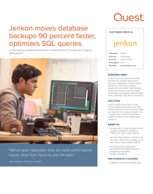 Jenkon moves database backups 90 percent faster, optimizes SQL queries