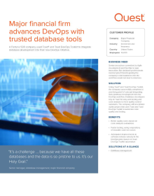 Major financial firm advances DevOps with trusted database tools