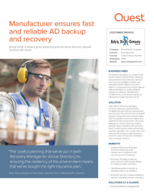 Manufacturer ensures fast and reliable AD backup and recovery