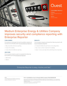 Medium Enterprise Energy & Utilities Company improves security and compliance reporting with Enterprise Reporter