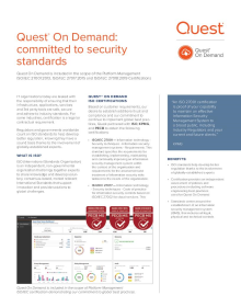 Quest On Demand ISO certification: committed to security standards