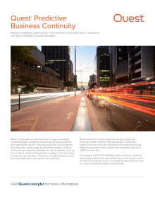 Quest Predictive Business Continuity