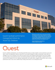 Quest's Spotlight performance management driven by Azure SQL Database