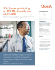 SQL Server monitoring on 125 TB of healthcare claims data