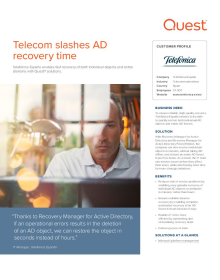 Telefónica España slashes AD recovery time with Recovery Manager
