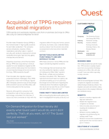 The Perimeter Protection Group (TPPG): Acquisition of TPPG requires fast email migration