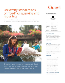 University standardizes on Toad® for querying and reporting