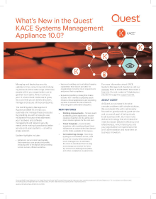 What's new with the KACE Systems Management Appliance (SMA) 10.0