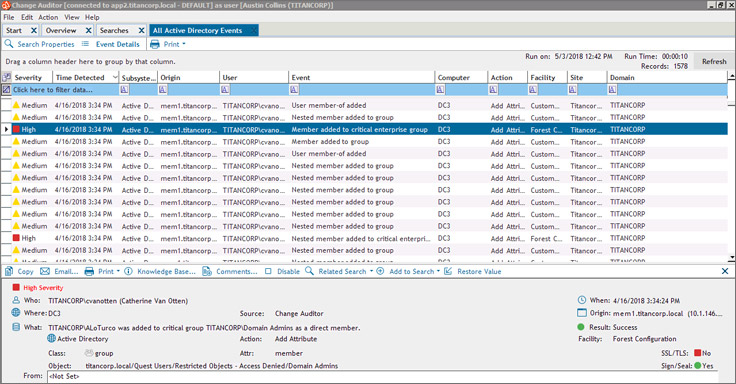 Active Directory Change Auditing, Reporting and Security Tool