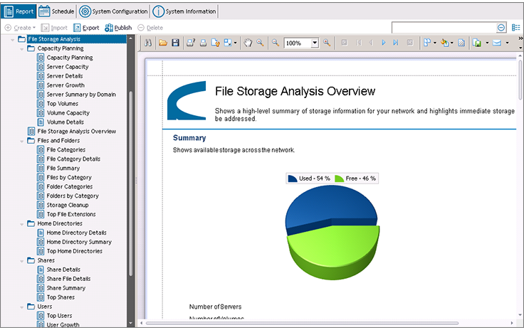 File Storage Management Reporting and Analysis