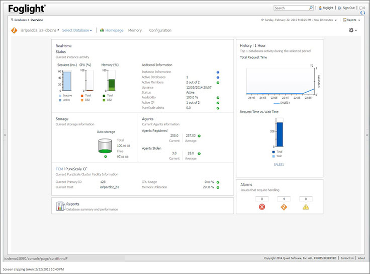 Foglight for DB2 Performance Monitoring Software Tool