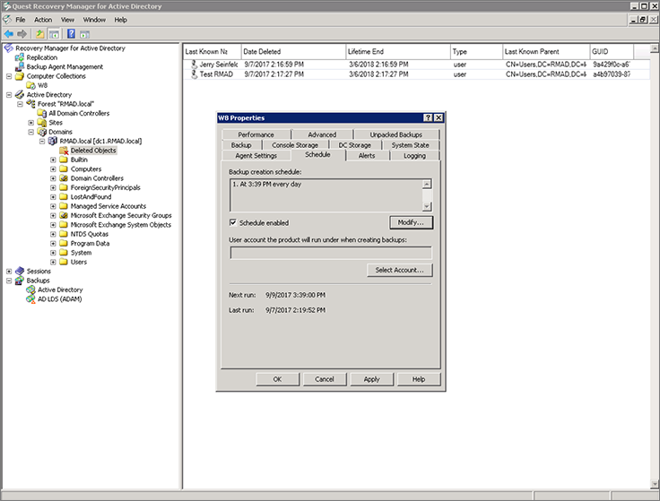Recovery Manager for Active Directory: Quick, scalable AD