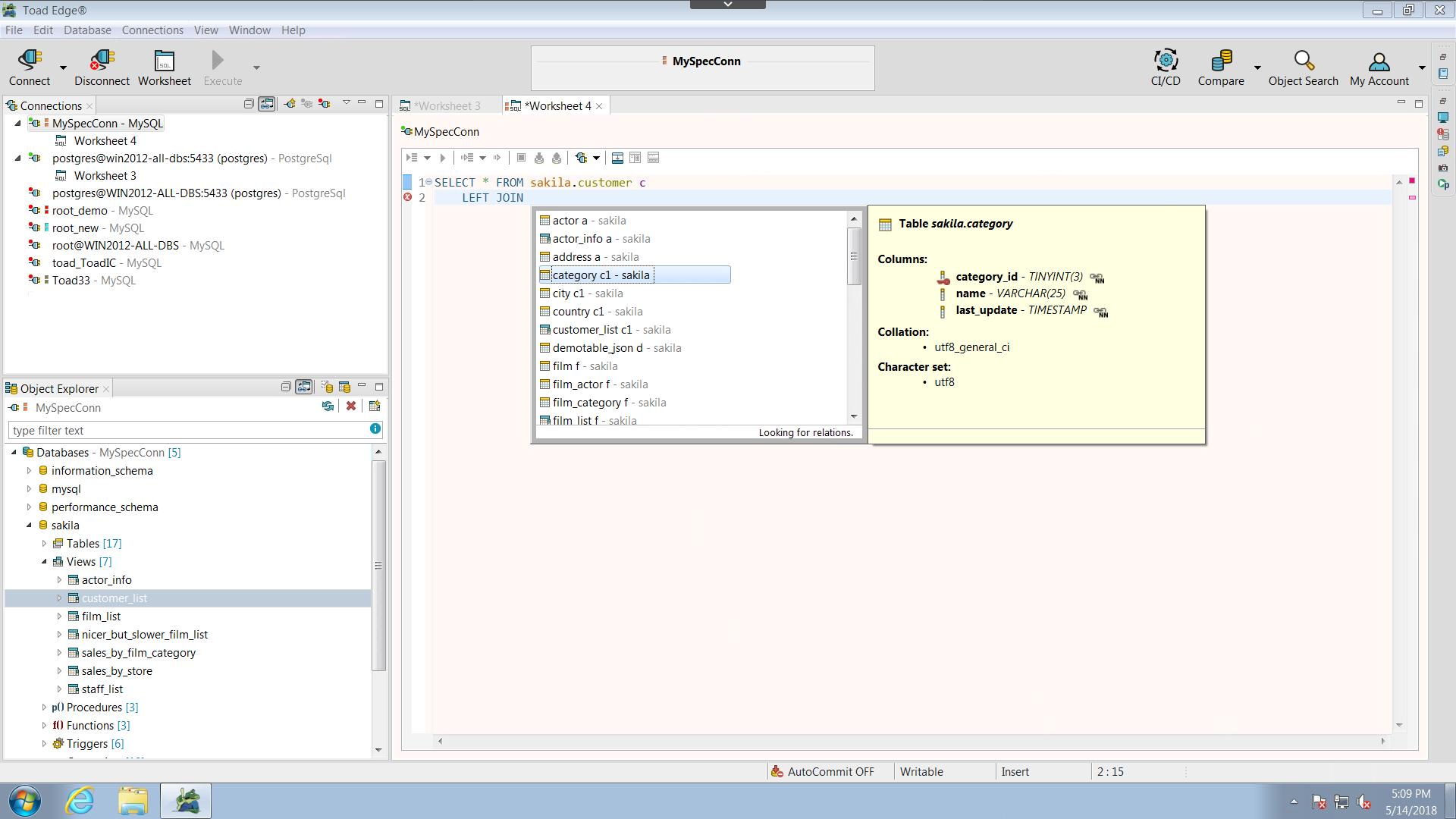 Mysql Database Admin Toad Edge For Mysql