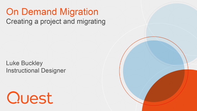 Creating a project and migrating in On Demand Migration