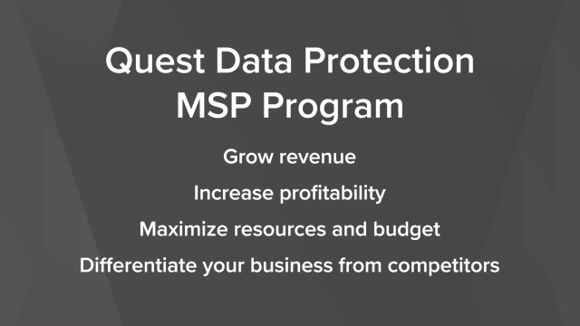 Grow Revenue & Profitability with the Quest Data Protection MSP Program