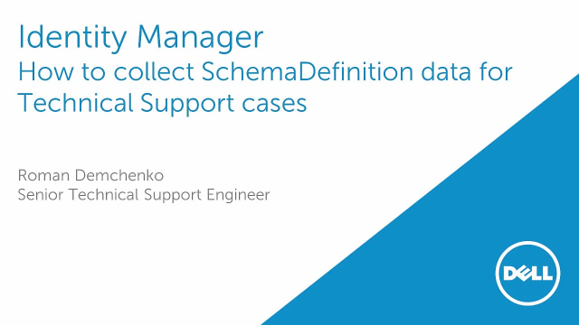 How to collect One Identity Manager SchemaDefinition data for Technical Support cases