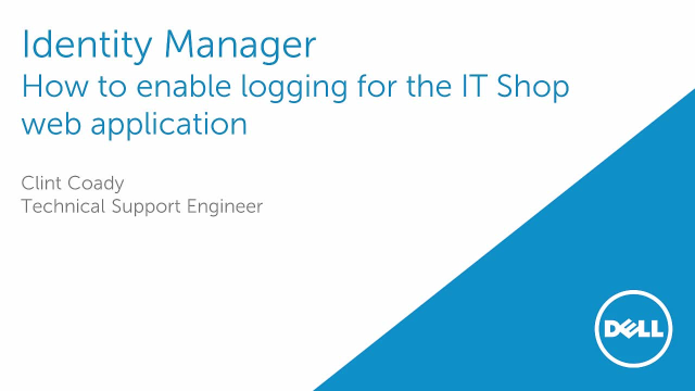 How to enable logging for the One Identity Manager IT Shop web application