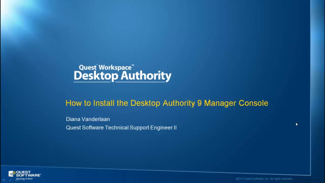 How to Install the Desktop Authority Manager Console