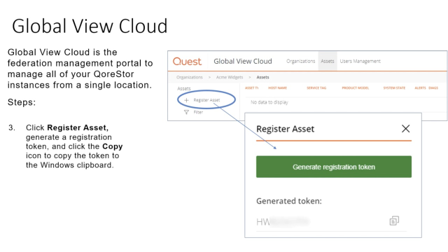 How to register a QoreStor instance in Global View Cloud