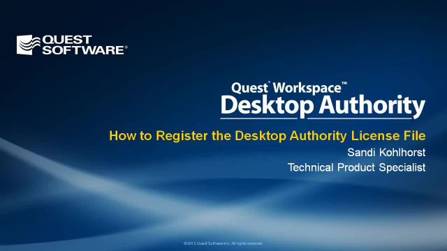 How to Register the Desktop Authority License File