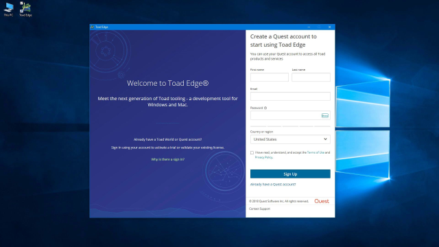 How to set up a Quest account to access your Toad products