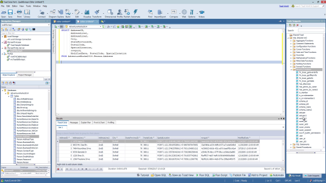 How to use the SQL editor tool in Toad Data Point