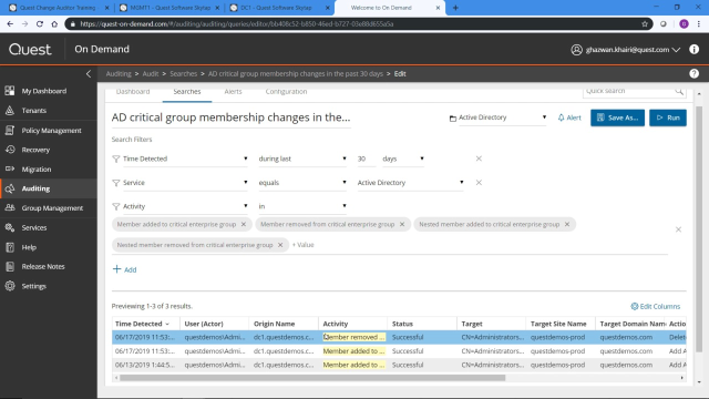 Hybrid AD auditing with Change Auditor and On Demand Audit