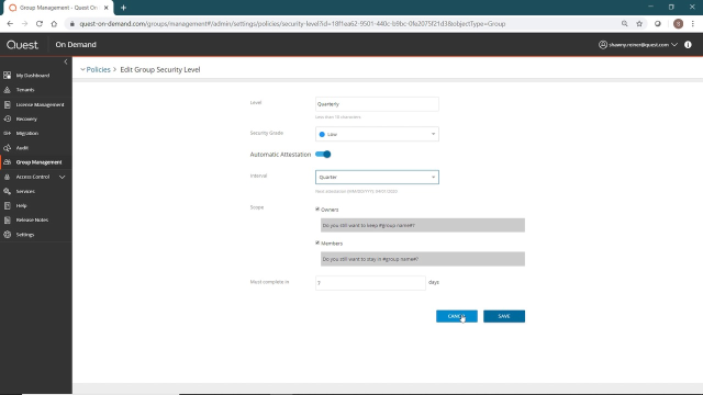 Managing policies in the Admin Portal in On Demand Group Management