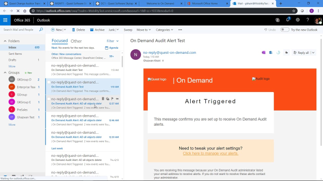 Real-time email alerts with On Demand Audit