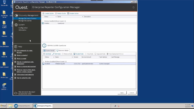 Using the Configuration Manager in Enterprise Reporter